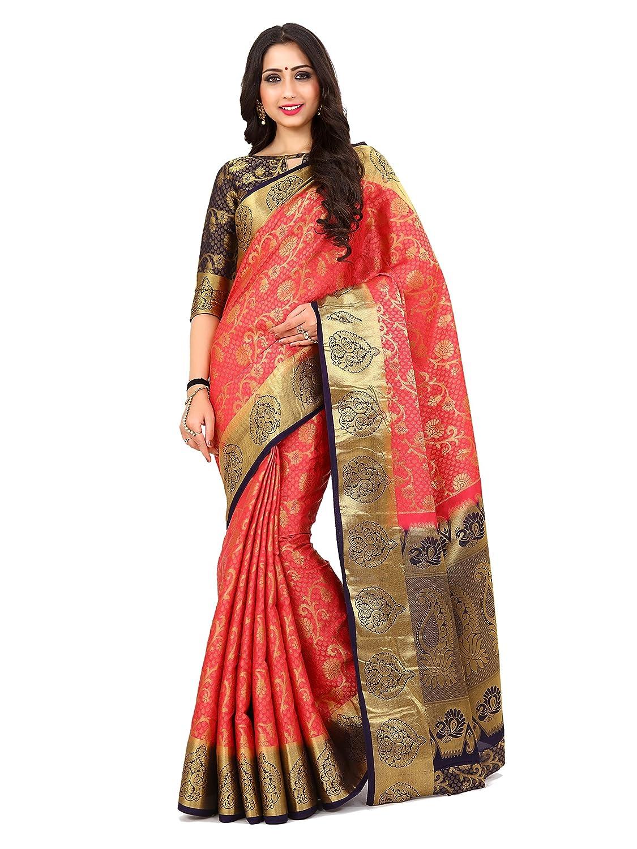 Red & Navy Blue Kanchipuram Art Silk Saree With Un-Stiched Blouse