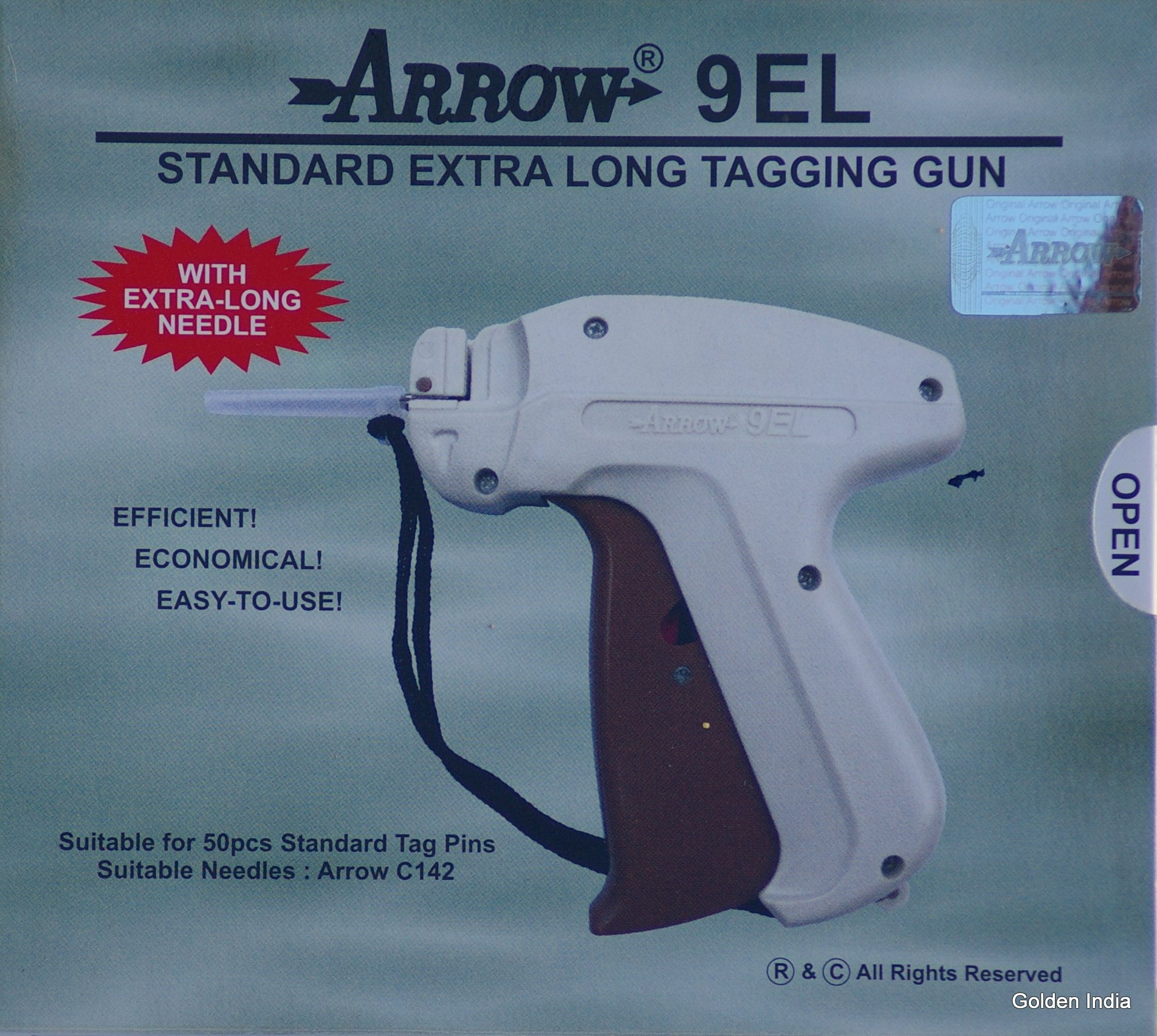 Arrow EXTRA LONG NECK NEEDLE Tag Gun + 2000 ( Size 75mm ) ( 3'' ) White Barbs ( Fasteners ) Price Label Clothing Tagging Attacher with High Quality Steel Needle Combo