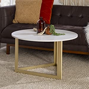 Walker Edison Modern Round Metal Base Coffee Table Living Room Accent Ottoman, 32 Inch, White Marble