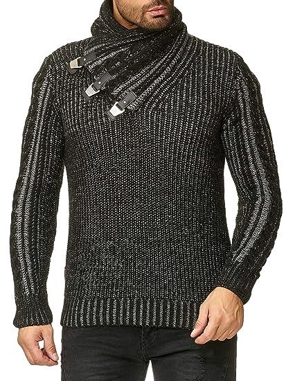 eef23b6844 Redbridge Men's Winter Pullover Slim-Fit Casual Shawl Collar Ribbed Fashion  Sweater Black