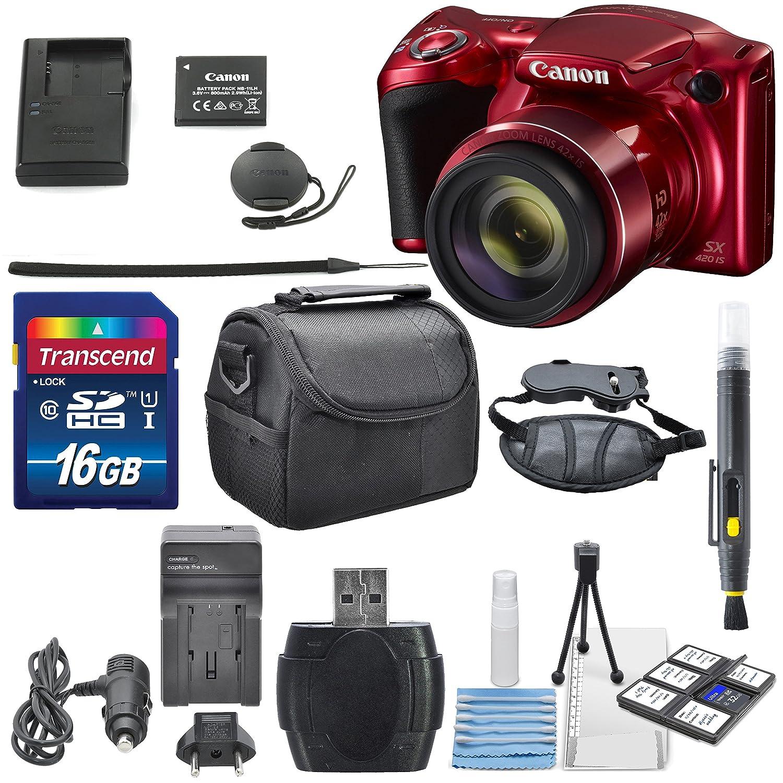 Canon PowerShot sx420 is with 42 x光学ズームと内蔵Wi - Fiデジタルカメラalong with aデラックスバンドルとクリーニングアクセサリー 16GB レッド B01CML5I1K