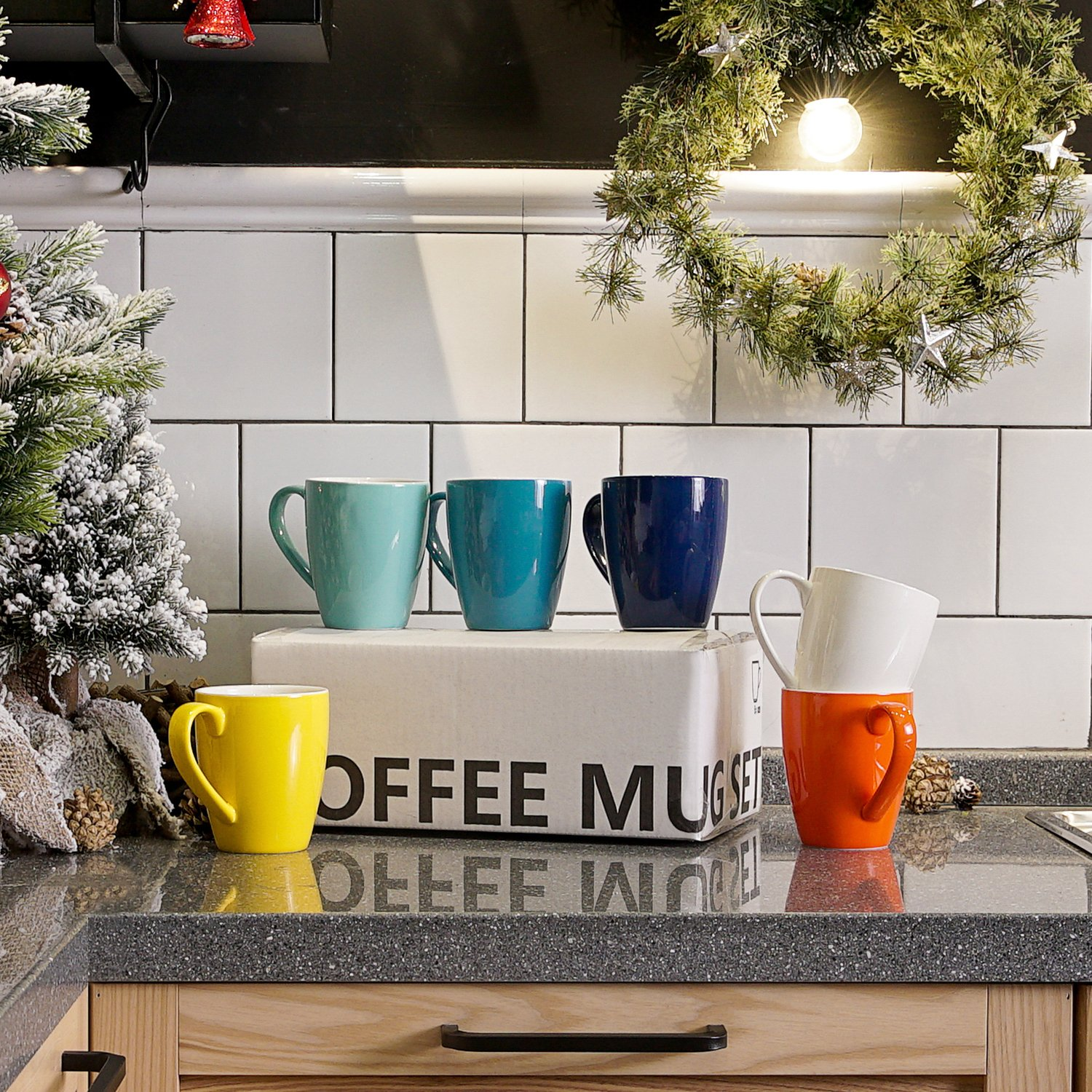 Sweese 6202 Porcelain Mugs - 16 Ounce for Coffee, Tea, Cocoa, Set of 6, Hot Assorted Colors by Sweese (Image #3)
