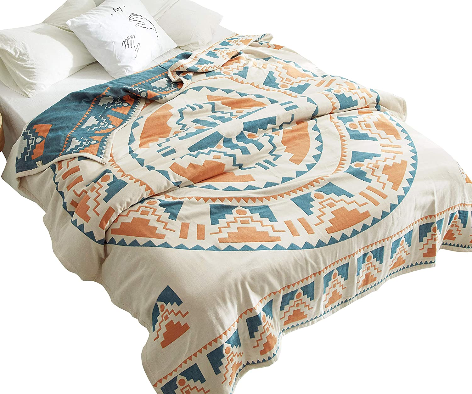 MEJU Sun God Boho Geometric Cozy Reversible Bed Blanket, Full/Queen 78