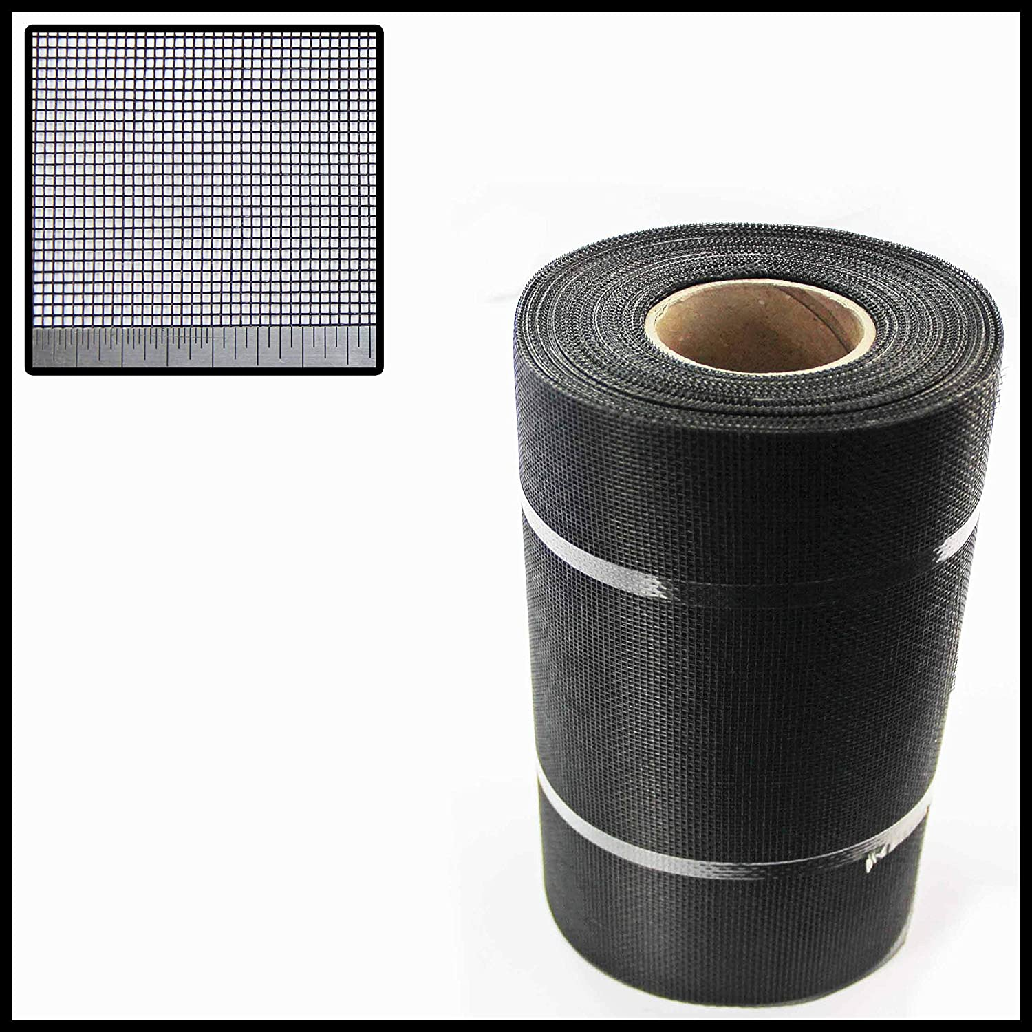 BLACK FIBREGLASS SOFFIT (INSECT) MESH - #18 x #16-30.5 METRE x 200MM ROLL The Mesh Company