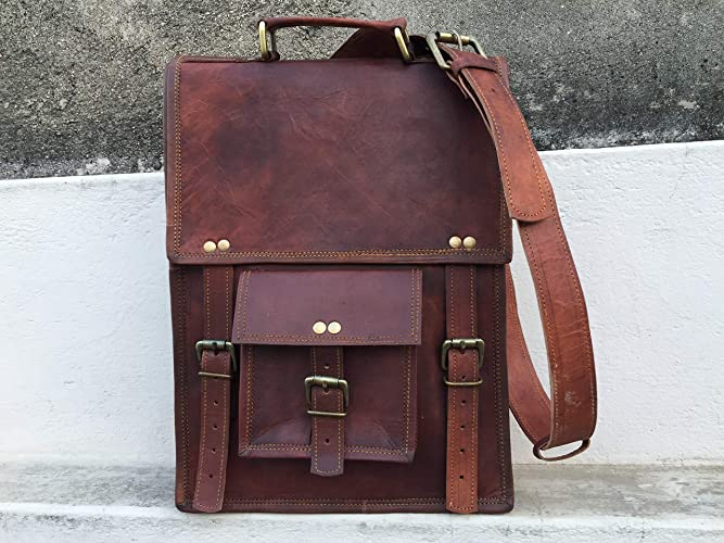 20ca294934a7 Pascado brown vintage 15 inch leather briefcase laptop messenger bag mens  womens