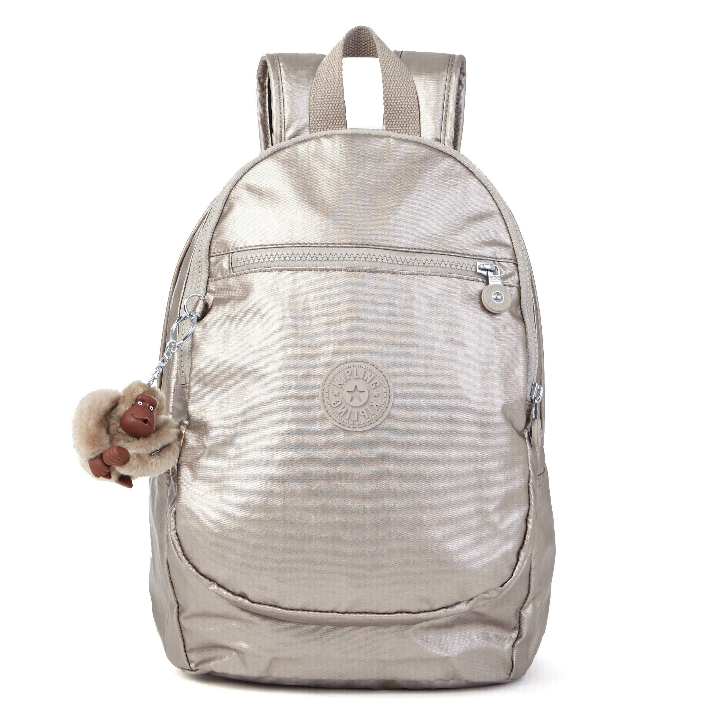 Kipling Women's Challenger Metallic Backpack, Metallic Pewter by Kipling