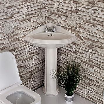 Corner Pedestal Sink White Re1717w New Amazoncom