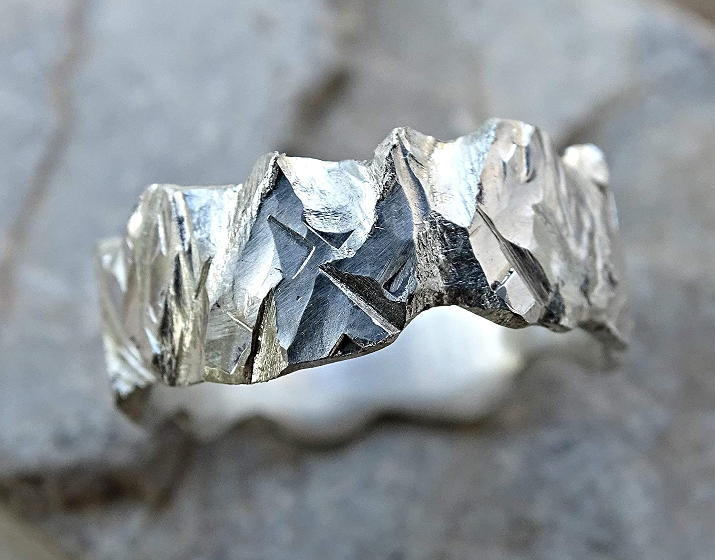 chunky mens ring forged viking ring wabi sabi silver glacier ring carved silver mens ring raw rugged wedding band brutalist ring men