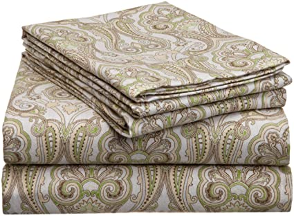 Pointehaven Heavy Weight Printed Flannel Sheet Set, Queen, Paisley Sage  best queen-sized flannel sheets