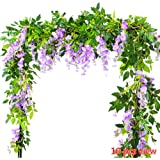 Felice Arts 2 Pcs Artificial Flowers 6.6ft Silk Wisteria Ivy Vine Green Leaf Hanging Vine Garland for Wedding Party Home Garden Wall Decoration, Cream