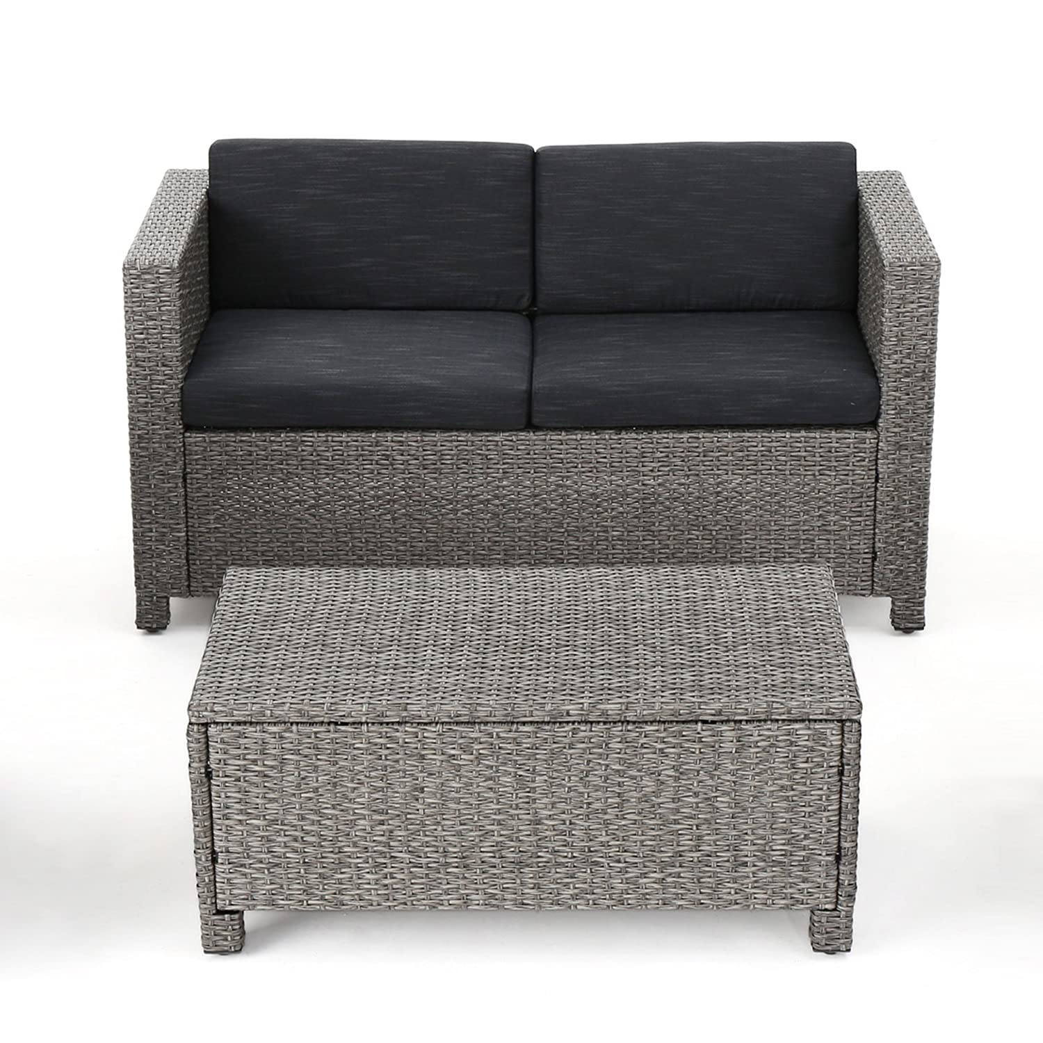 Cony Outdoor Wicker Loveseat and Coffee Table Set, Mixed Black with Dark Grey Cushions