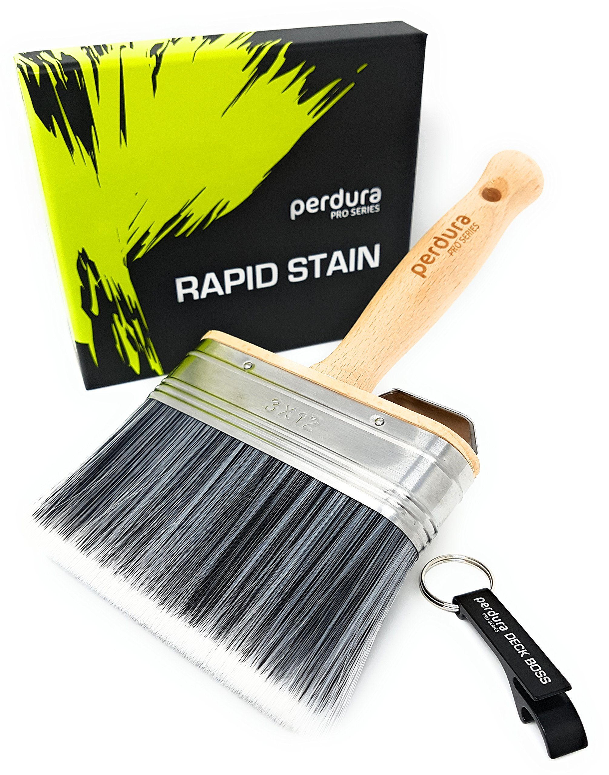 Perdura Rapid Stain Deck Stain Brush Fence Floor Applicator - 5 inch Paint Brush - Stain Seal and Paint Fast! - Outlasts Other Paint Brush Tools - Water and Oil Based Coatings for Wood and Concrete by Perdura Pro Series Brushes