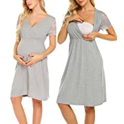 MAXMODA Women's Maternity Nusring Delivery Lady Gown Labor Sleepwear Dress (Gray, Medium)