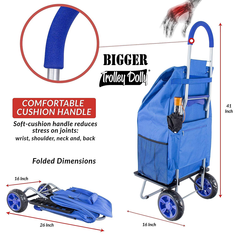Bigger Carrito Dolly, Azul Carrito de Compras Plegable de comestibles: Amazon.es: Hogar