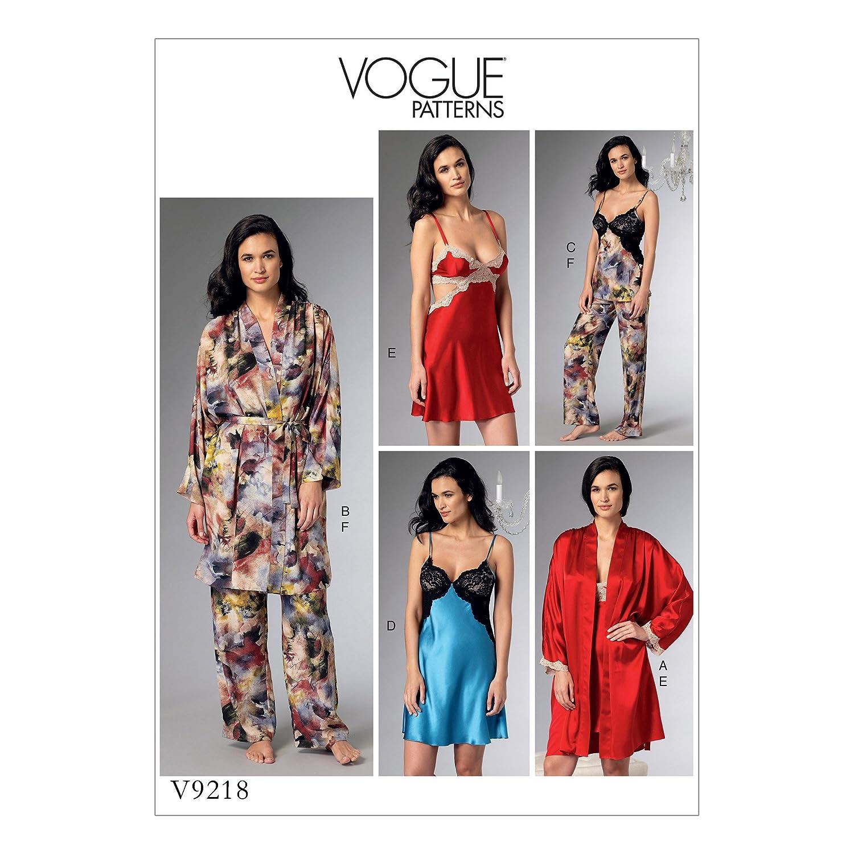 Gr/ö/ßen 14 Mehrfarbig Vogue Mustern 9218/E5/Schnittmuster Bademantel//G/ürtel//Mieder//Nachthemd und Hose 22 Tissue