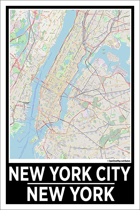 Map Of New York Poster.Amazon Com Spitzy S New York City New York 12 By 18 Inch City Map