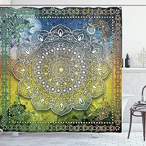 Ambesonne Ethnic Shower Curtain, Mystic Mandala Culture Karma Calmness and Harmony Boho Design, Cloth Fabric Bathroom Decor Set with Hooks, 70