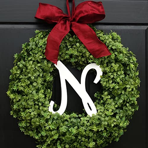 Artificial Boxwood Christmas Wreath With Initial For Holiday Front Door Decoration Personalized Monogram Letter