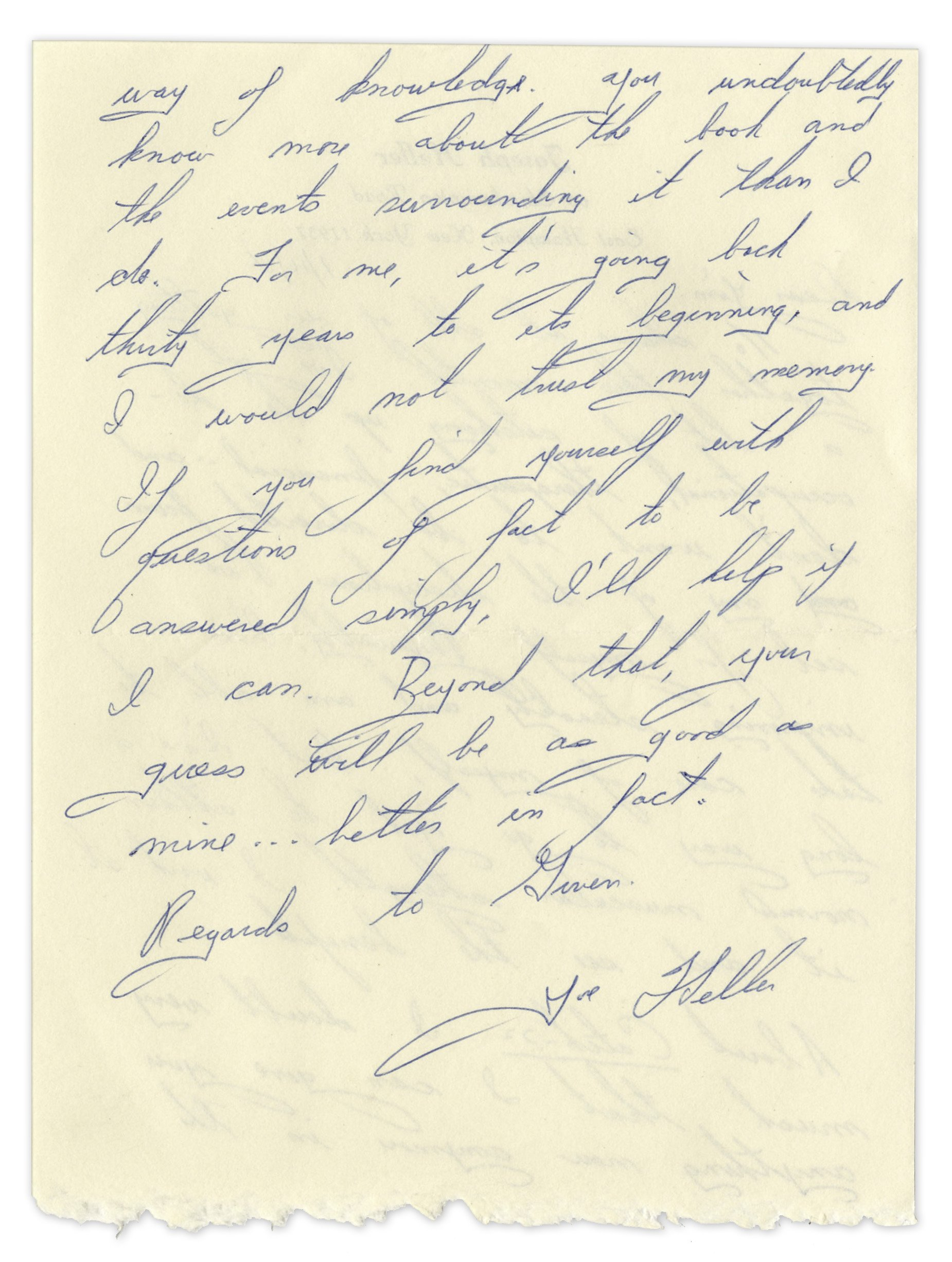 "Joseph Heller Autograph Letter Signed ""…About Catch 22…you undoubtedly know more about the book and the events surrounding it than I do…I would not trust my memory…"""