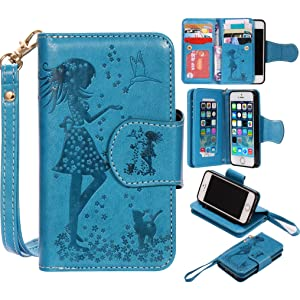 BONROY¨ Magnetic Flip Cover for iPhone 5 5S 5SE,Woman and cat theme series Embossing Wallet Case with Hand Strap for iPhone 5 5S 5SE, Premium PU Leather Folio Style Retro PU Leather Wallet Flip with Card Slots and and Stand Function Case Cover for iPhone 5 5S 5SE