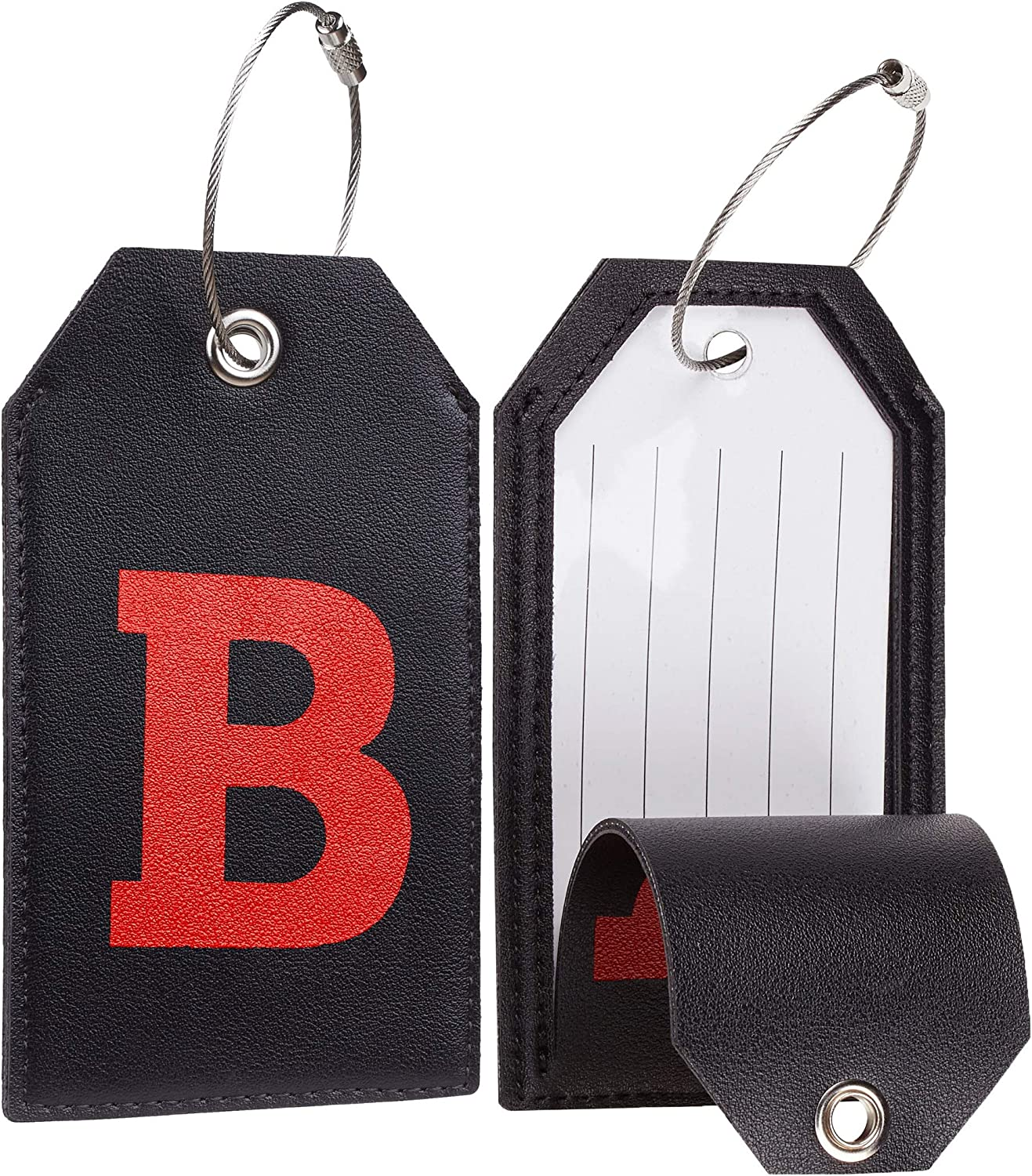 Casmonal Initial Leather Luggage Tag Travel Bag Tag Fully Bendable 2 PCS set A