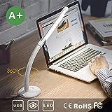 Aglaia Lampada da Tavolo USB Ricaricabile Ebare 3W, Protezione Degli Occhi LED Lampada da Tavolo con 3 Luminosità Regolabile per Touch Control, Senza Fili Per lo Studio la Lettura, Bianco (silver 2)
