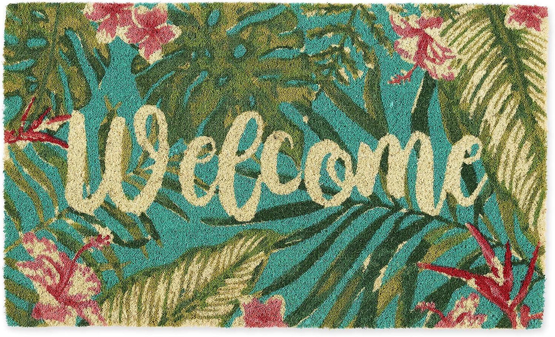 DII Home Natural Coir Doormat, Indoor/Outdoor, 18x30, Tropical Welcome