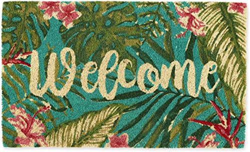 DII Home Natural Coir Doormat, Indoor Outdoor, 18×30, Tropical Welcome
