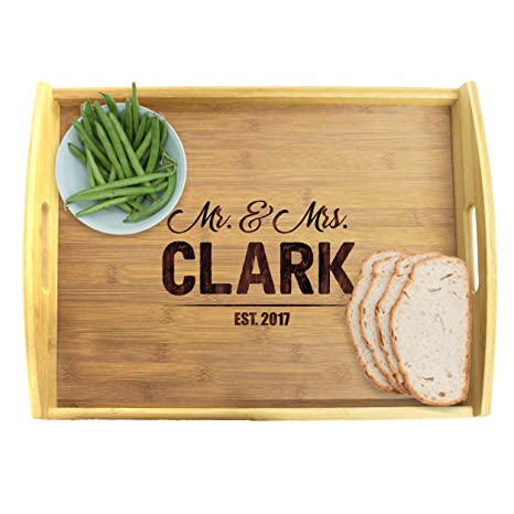 amazon com personalized wood serving tray with handles