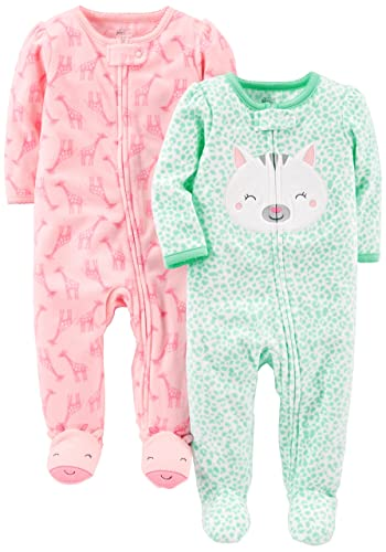 Simple Joys by Carter's Baby Girls' 2-Pack Fleece Footed Sleep and Play, Kitty/Giraffe, 3-6 Months