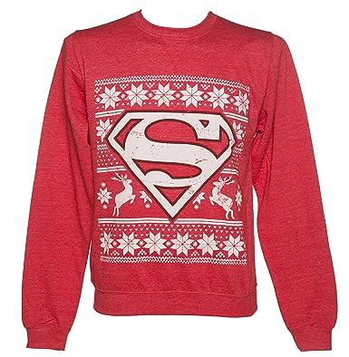 Unisex Red DC Comics Superman Fair Isle Christmas Sweater: Amazon ...