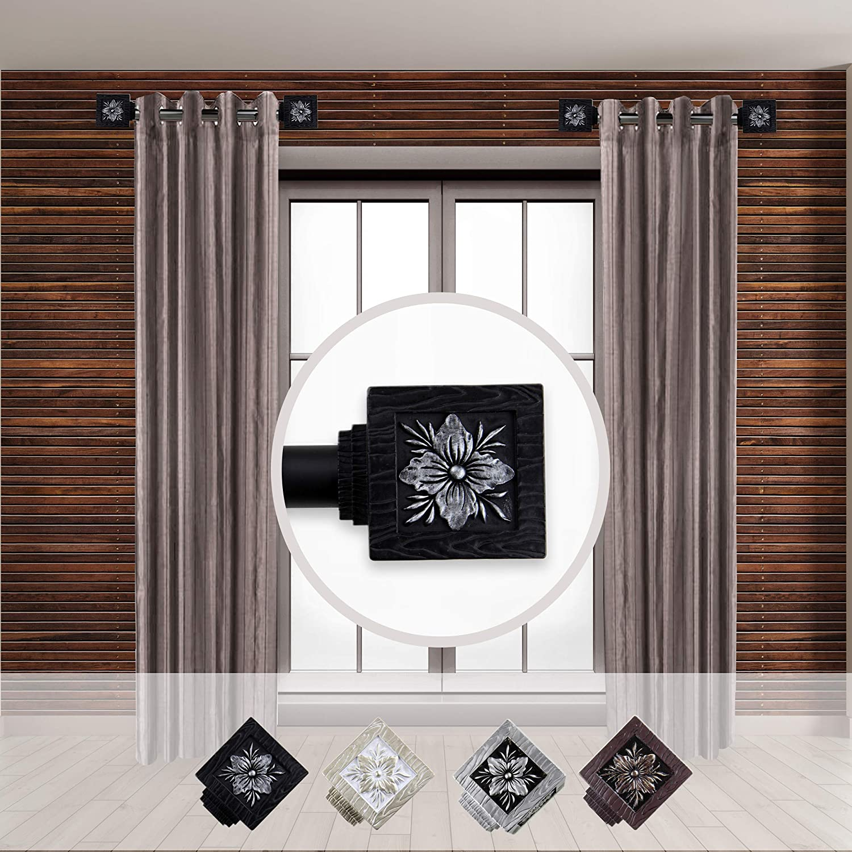 Rod Desyne Ophelia 1 - inc Dia. Side Curtain Rod 12-20 inch Long, Set of 2 Black