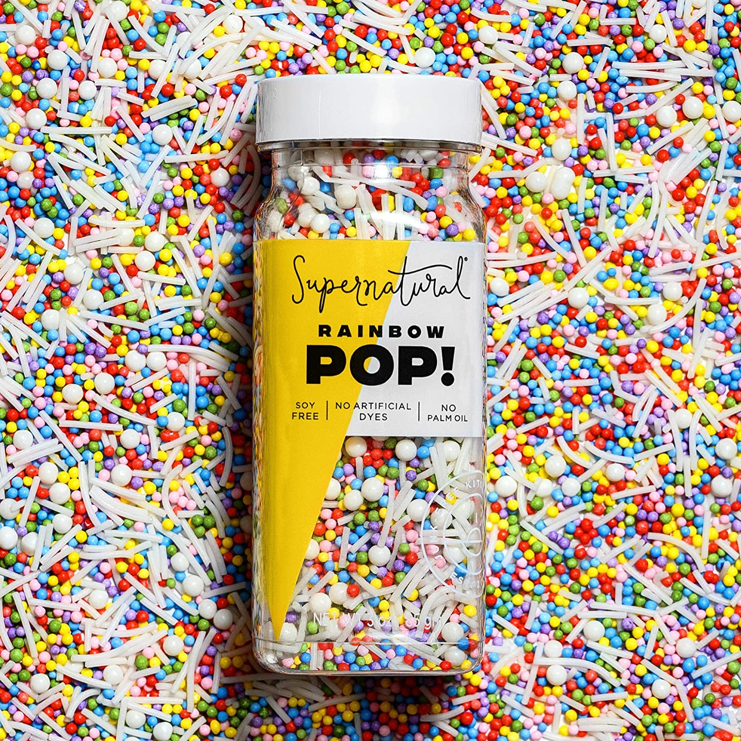 Rainbow Pop! Sprinkles by Supernatural, Nonpareil Sprinkles, Gluten-Free, Vegan, No Artificial Dyes, Soy Free for Healthy Baking, 3 oz