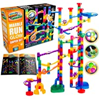 Marble Genius Glow Marble Run Super Set - 200 Complete Pieces + Free Instruction App & Full Color Instruction Manual