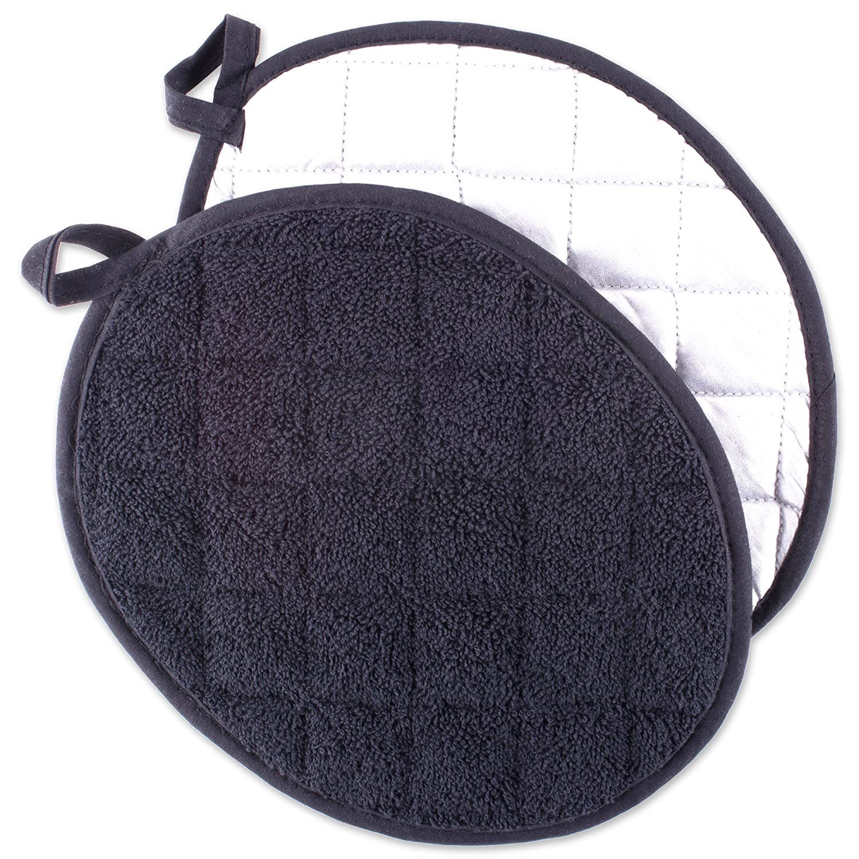 DII 100% Cotton Oval Terry Pot Holder Set Machine Washable, Heat Resistant, 7.5 x 9.5, Black