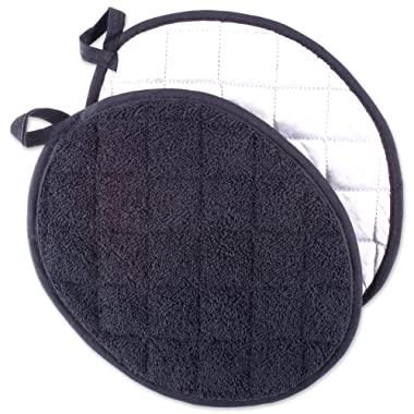 DII 100% Cotton, Machine Washable, Heat Resistant, Everyday Kitchen Basic Oval Terry Pot Holder Set, Black