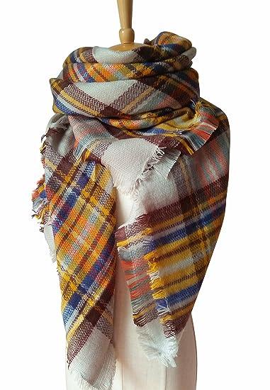 MOTINE Tartan Blanket Scarf Stylish Winter Warm Pashmina Wrap Shawl for  Women (Beige)