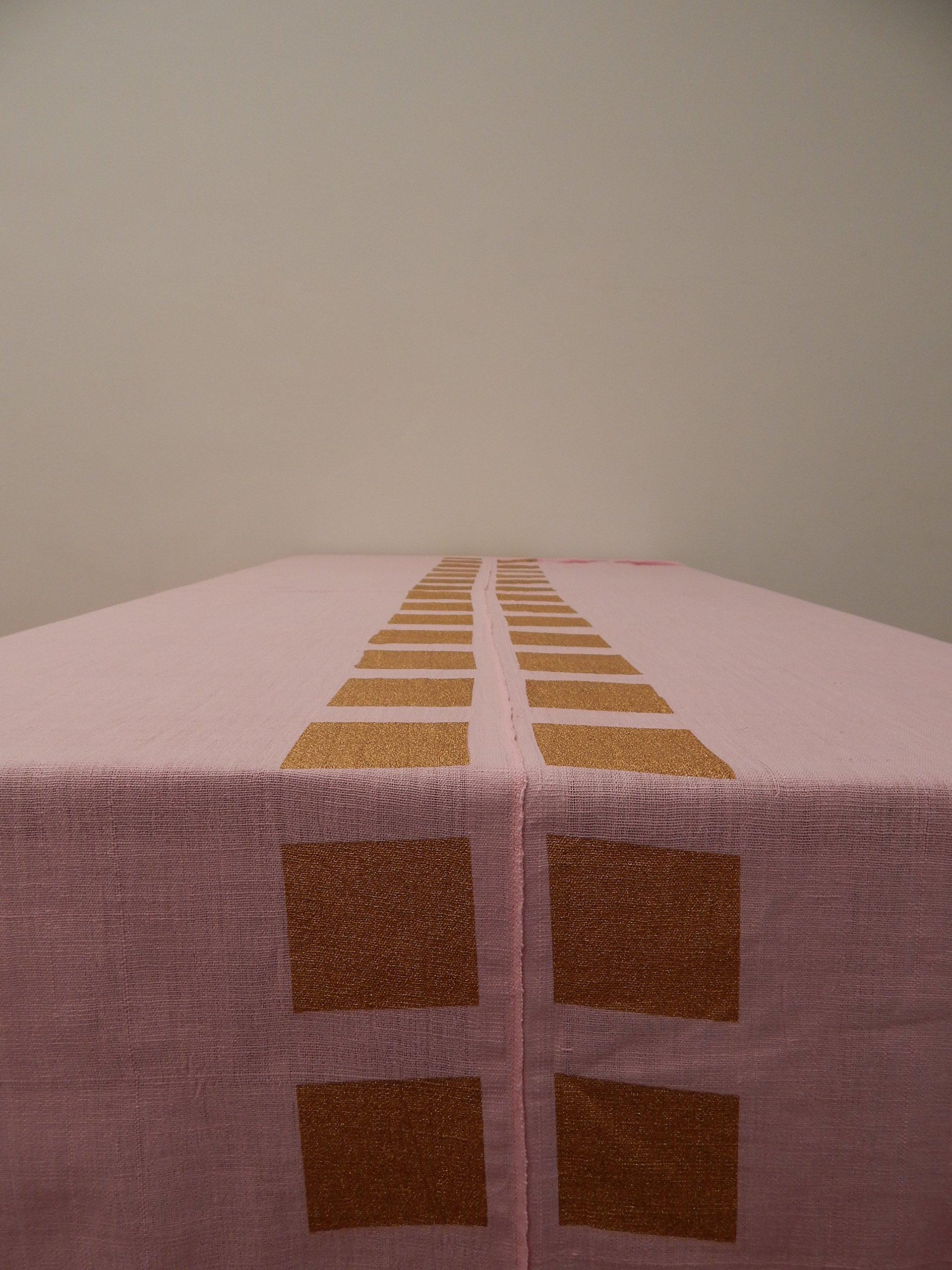 Gitika Goyal Home Cotton Khadi Gold Screen Printed Tablecloth with Square Design, Pink, 60'' x 90''
