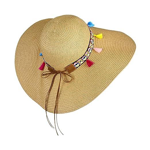 575c2c2ef Large Boho Floppy Festival Sun Hat Tribal Aztec Band Tassel Trim Protection
