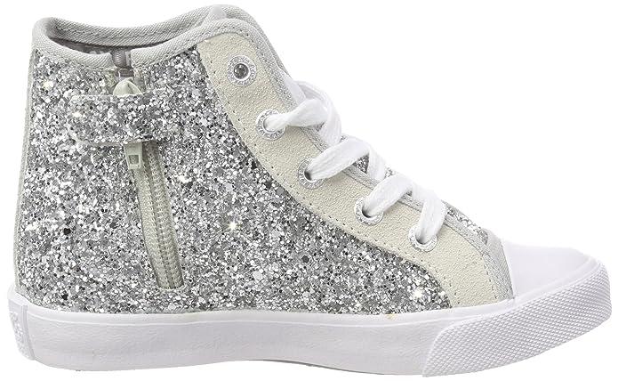 Replay Mädchen Justin Hohe Sneaker, Silber (Silver), 32 EU
