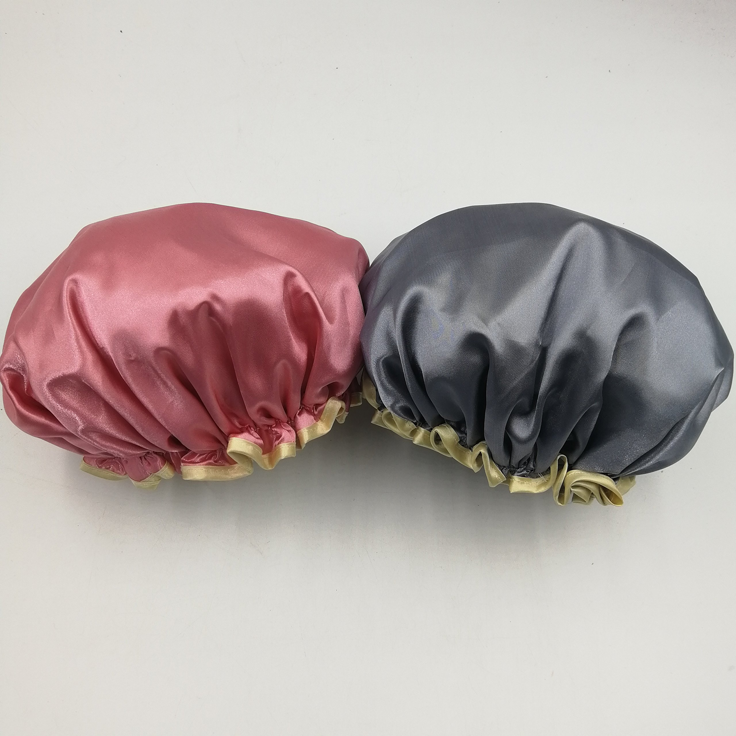 no!no! Shower Caps for Women,Satin Waterproof Double Layer Shower Cap, Washable Reusable Bath Caps (2 pack) (Pink and Gray)