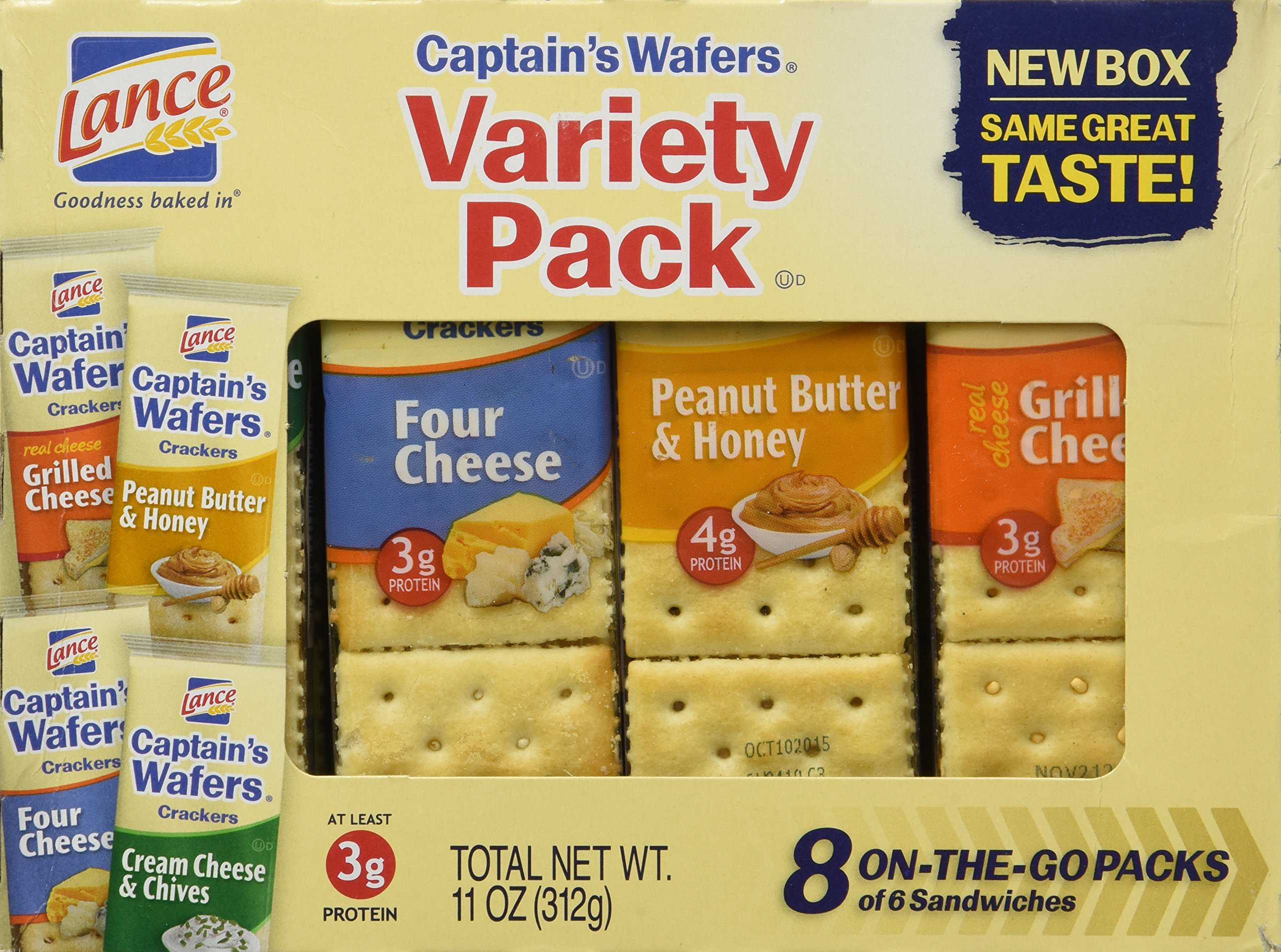 Lance, Captain's Wafer Crackers, Variety Pack, 11oz Tray (Pack of 3)