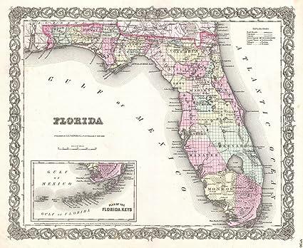 Print Map Of Florida.Amazon Com Historic 1855 Colton Map Of Florida 24 X 20in Fine Art