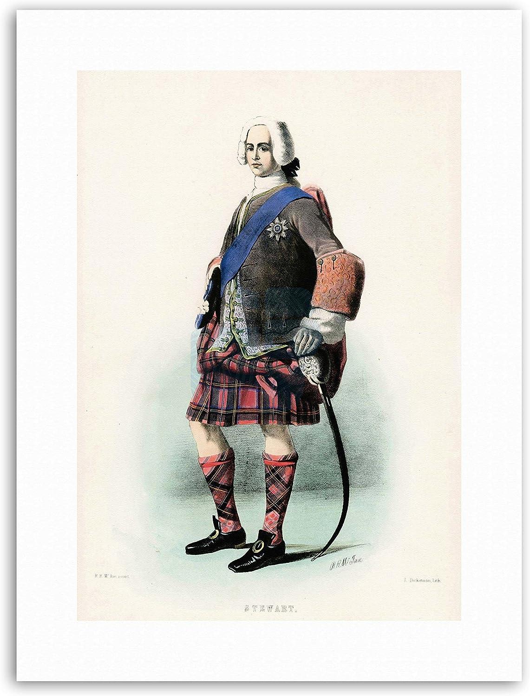 Pintura Highland Clan Escocia Tartan Stewart Royal enmarcado impresión 12x16 pulgadas
