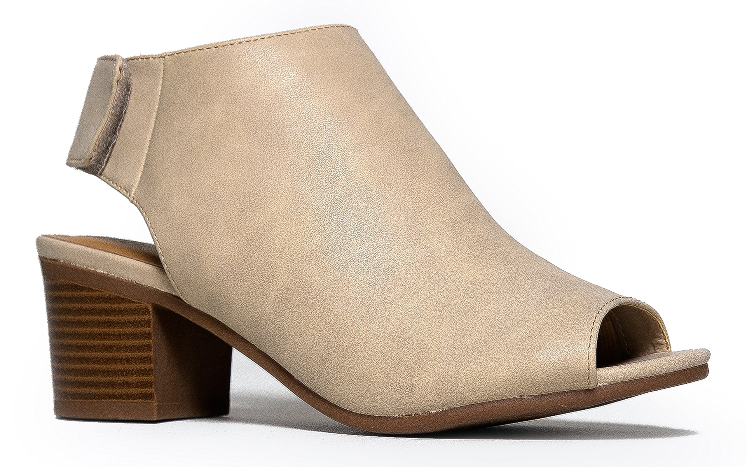 Peep Toe Bootie Low Stacked Heel - Open Toe Ankle Boot Cutout Velcro Enclosure 10