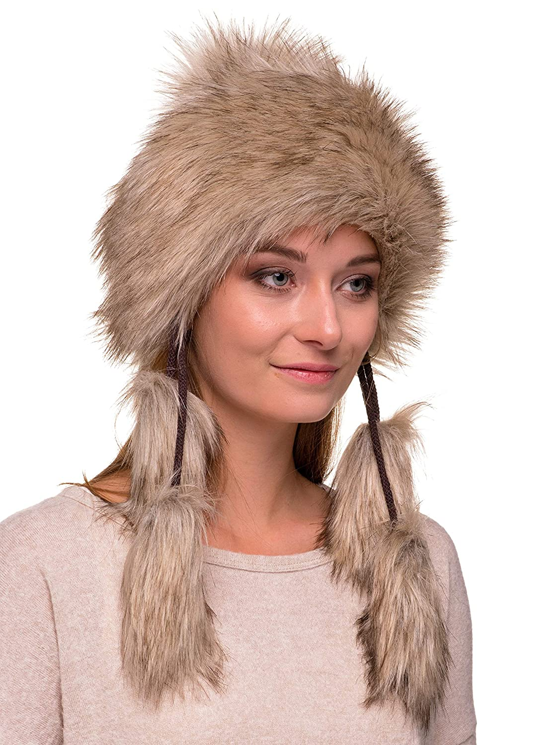 1d8858a84d4 Futrzane Mongolian Faux Fox Fur Winter Hat Women Russian Cossack Pompom  Futrzane-mongolka-15 larger image