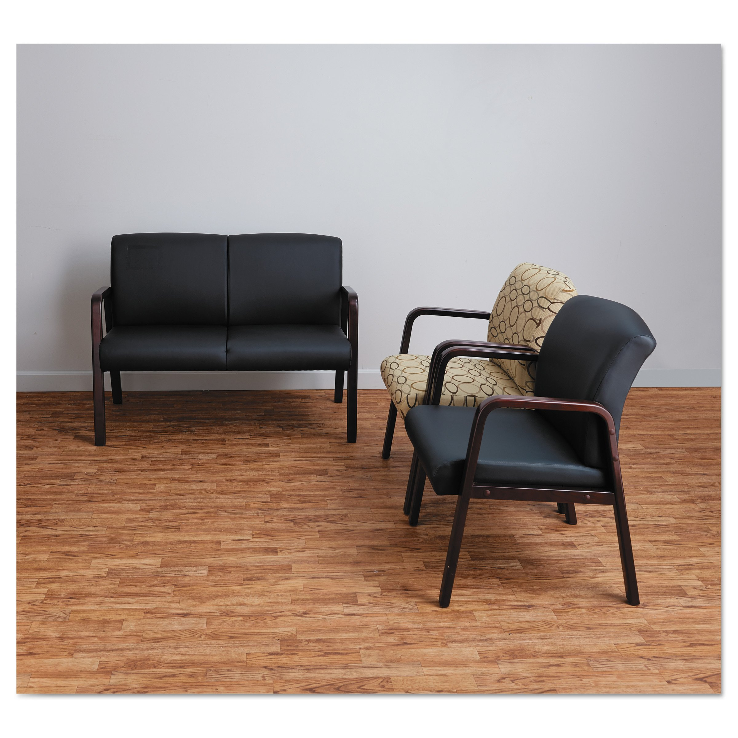 Alera ALERL4319M Reception Lounge Series Guest Chair, Mahogany/Black Leather by Alera (Image #4)