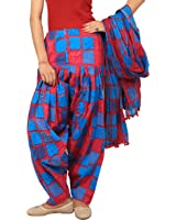 Rama Women's Cotton Combo of Full Printed Patiala and Dupatta Set (Blue, Free Size)