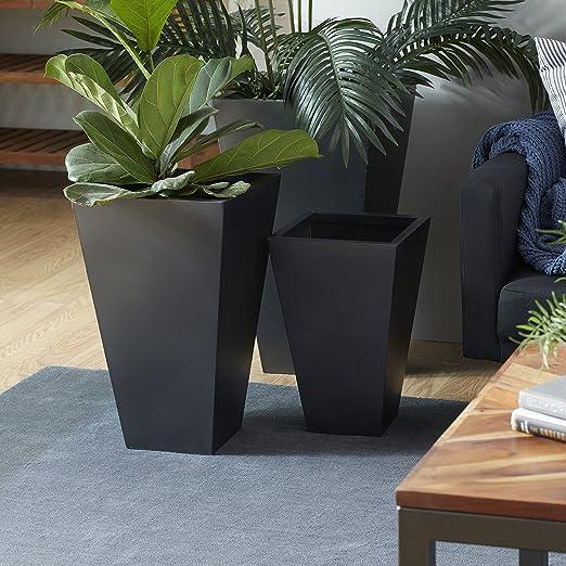 Deco 79 53355 Modern Black Tall Rectangular Metal Planters - Set of 3, 25