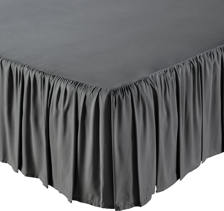 AmazonBasics Ruffled Bed Skirt, 16 Inch Skirt Length, Queen, Dark Grey